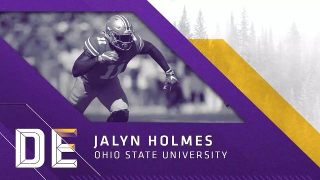 Defensive End Jaylin Holmes, Ohio State, escolha do Vikings