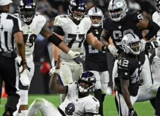 Lamar reclama em atuação abaixo da média do Baltimore Ravens contra o Las Vegas Raiders