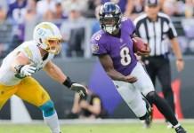 Lamar Jackson lidera a vitória do Baltimore Ravens contra o Los Angeles Chargers