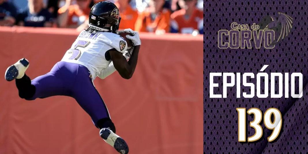 marquise Brown voando para recepcionar passe de 49 jardas para touchdown pelo Baltimore Ravens
