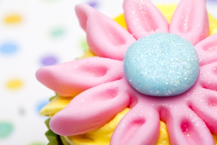 cropped image of a cupcake with floral design