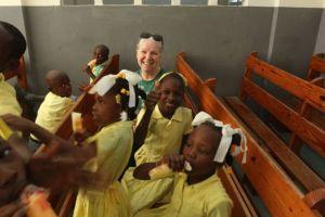 Fran Saxon working in Haiti in 2013.