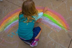 child chalk drawing