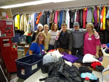 Youth with Youth Coordinator Heidi Lewis (front) and parent Sally Glover at the Nederland Clothes Closet, Oct 2018.