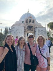 The group in front of the church at Shepherds' Fields in Beit Sahour.
