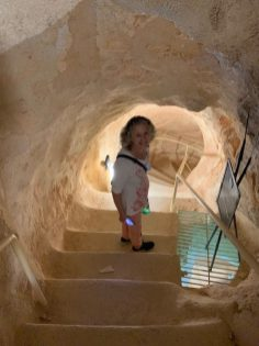 Brenda going down toward the cisterns at the Herodium (Herod the Great's palace/fortress in the mountain he made—yes you read that right!).