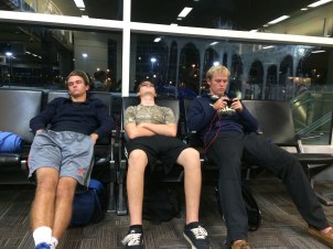Waiting for our first early morning flight