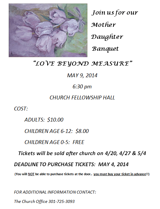 Mother Daughter Banquet Flier 2014