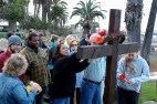 2015 Easter Sunrise Service @ Palisades Park - the congregation putting flowers on the cross.