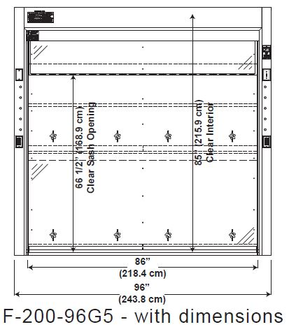 Drawing for Walk-In Fume Hoods Front