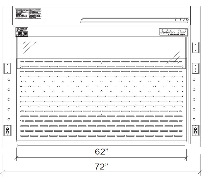 Isolator Bench Top Fume Hoods 6 ft diagram