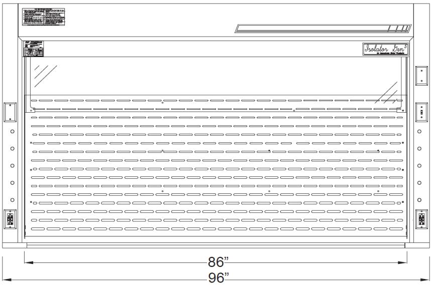 Isolator Bench Top Fume Hoods 8 ft diagram