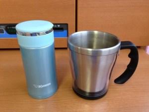 ステンレスマグとマグカップ