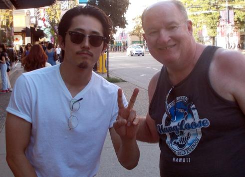 """Verne with Steven Yuen who plays Glen Rhee on """"The Walking Dead"""""""