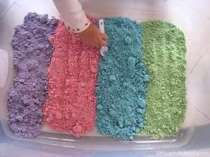 Coloured cloud dough