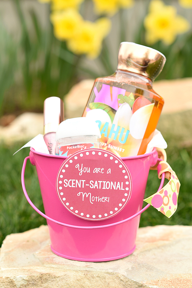 "Mother's Day Gift Idea-Fill a basket with Bath and Body products and then add this cute ""You are a Scentsational Mother"" tag to it and you've got a great gift for mom! #mothersday #gifts #giftsformom #mothersdaygifts"