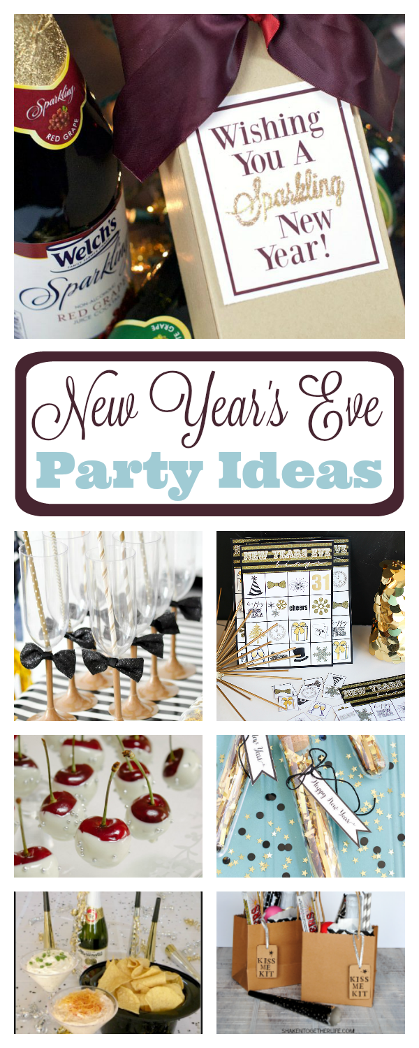 New Year's Eve Party Ideas to throw a fun NYE party whether it's at home with your family or a big bash for lots of people. New Year's Eve party food, favors, games and more. #newyearseve