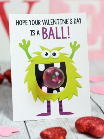 Monster Themed Kids Valentine Cards