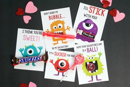 Monster Themed Kids Valentine Cards