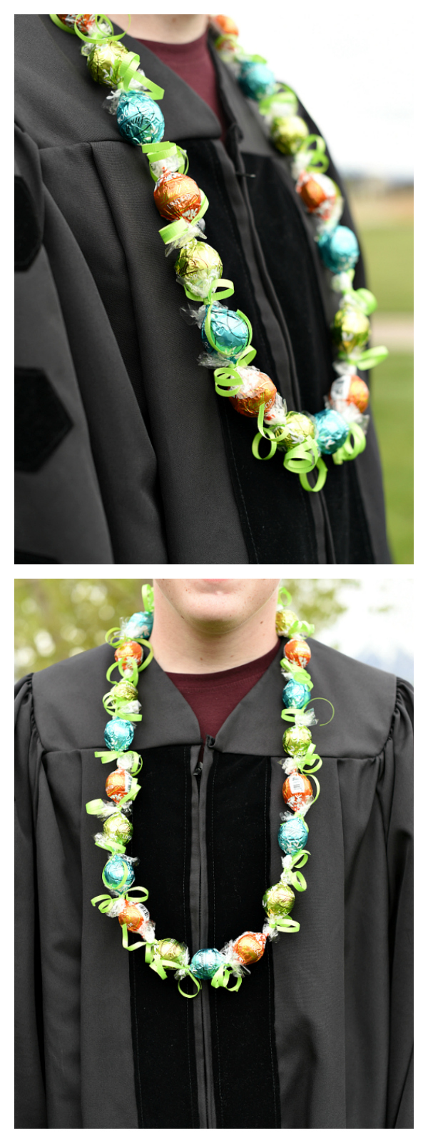 Chocolate Graduation Candy Leis-How to Make a Candy Lei from Lindt Truffles