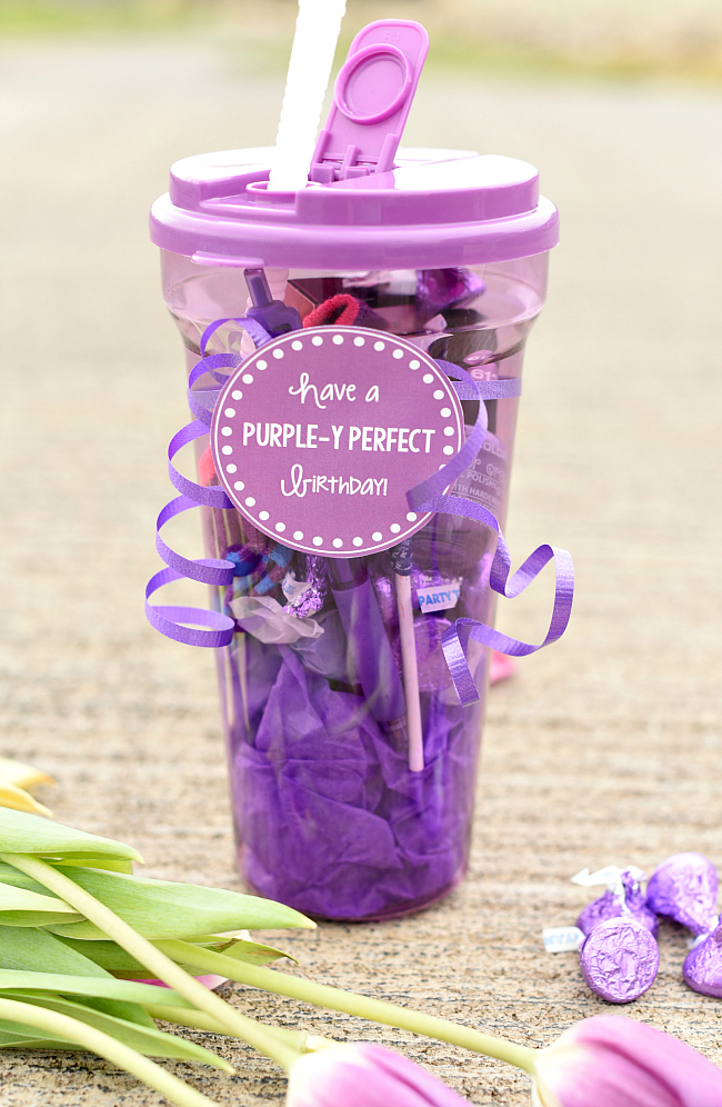 Purple Gift for Birthdays for a Friend-Grab a purple container, find some fun purple items to add to it (nail polish, candy, socks) and add this cute purple themed tag! #birthdaygifts #giftideas #gifts