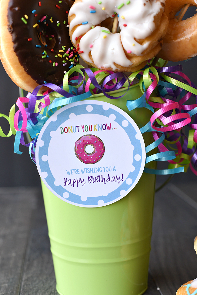 Donut Birthday Bouquet with Cute Tag