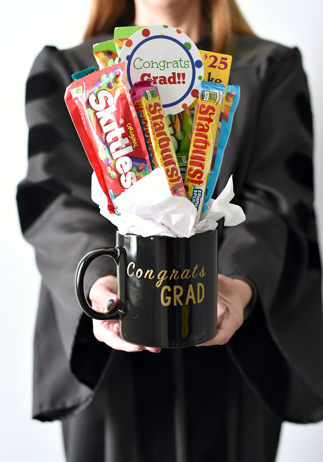 Fun Graduation Gift Ideas-This graduation bouquet is easy to put together and makes a great grad gift.