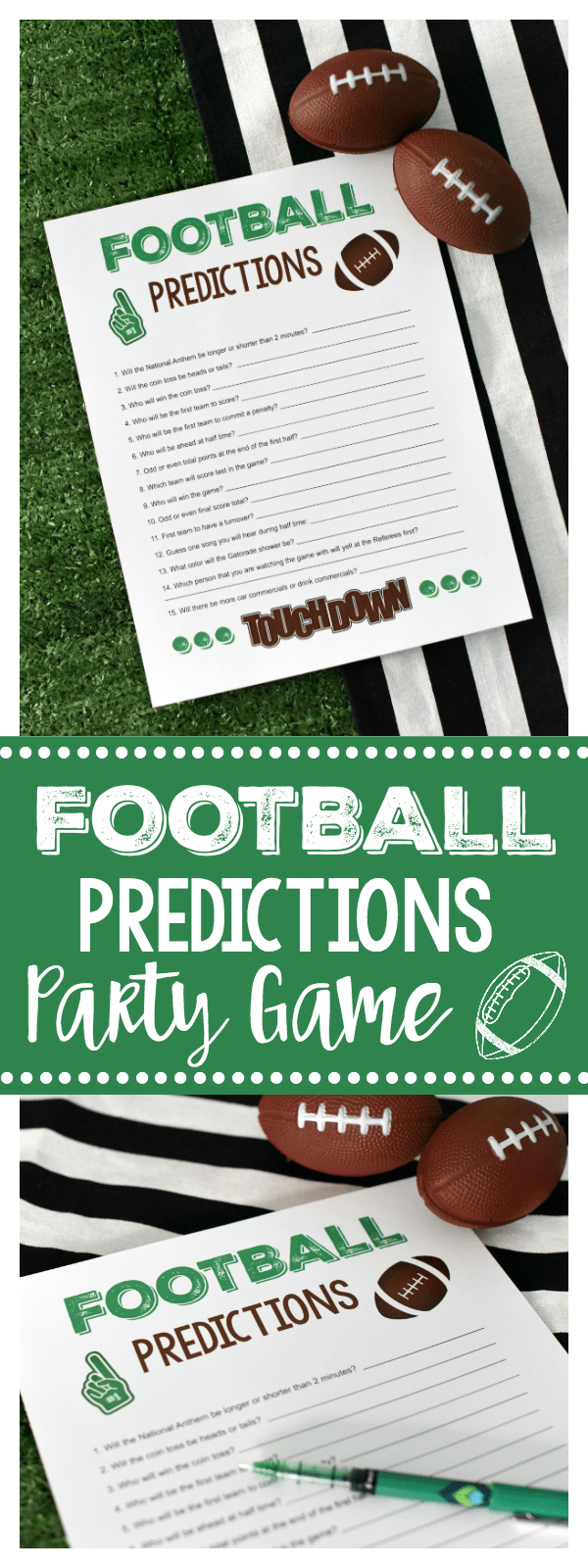 Super Bowl Party Games: Football Predictions (Like Prop Bets) a Great Game for the Whole Family! Let your party guests get into the action with this printable football party game...so fun and simple! #footballparty #footballpartygames #gamedayparty #gamedaygames