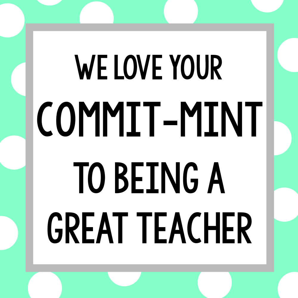 photo regarding Thank You for Your Commit Mint Free Printable referred to as Instructor Appreciation Presents-Sweet Bar Present Tags Entertaining-Squared