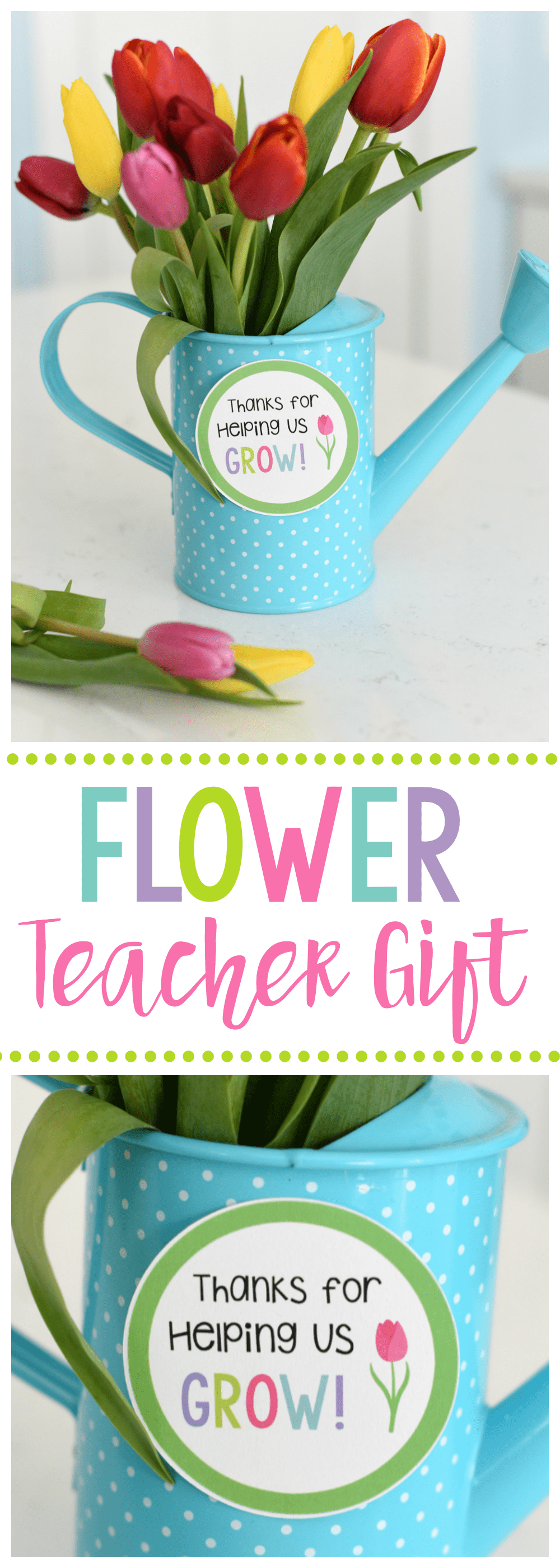 Cute Flower Teacher Gift Idea with Thanks for Helping Us Grow Tag