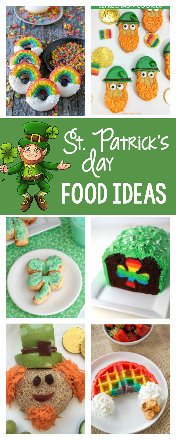 Fun St. Patrick's Day Food Ideas for the kids! Make this St. Patrick's day extra fun with leprechauns, rainbows, shamrocks and other fun St. Patrick's Day food ideas. #stpatricksday #green