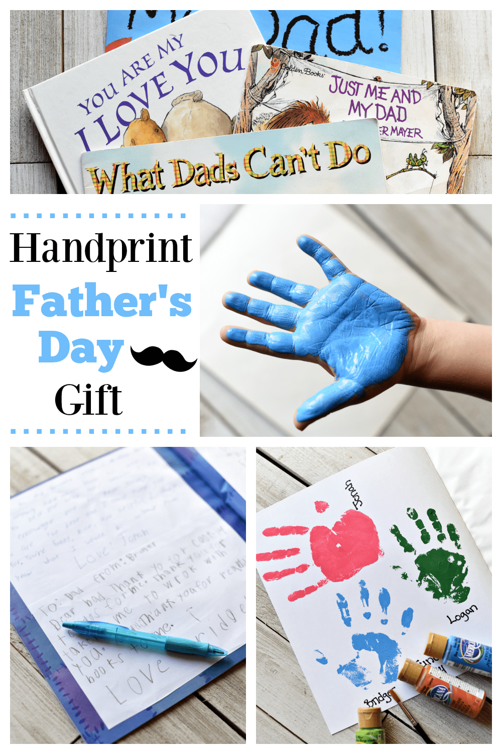 Handprint Father's Day Gifts- Give dad a simple and fun gift this Father's Day! This handprint gift idea is perfect for dad. #Father'sday #Father'sDaygift #Dadgifts #handprintgifts