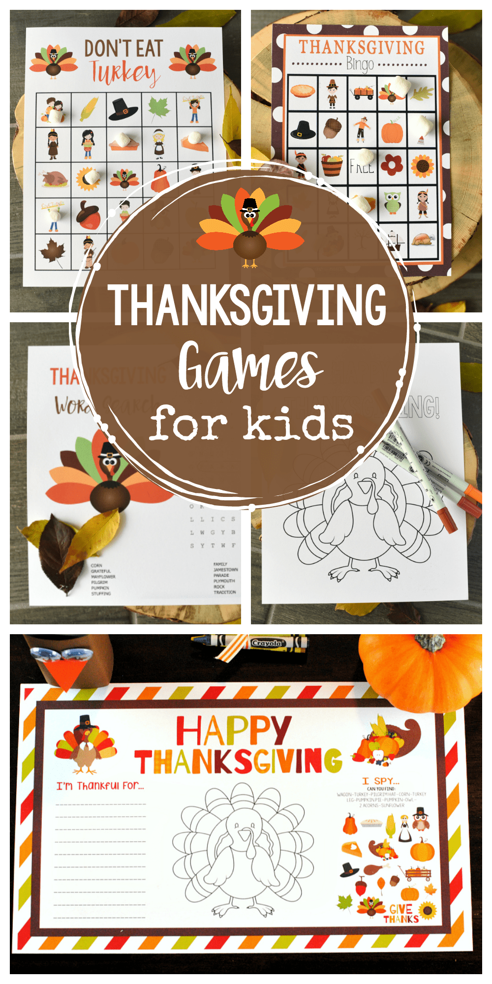 Thanksgiving Games and Activities for Kids-Print and play these fun games and activities for kid while the turkey cooks! Thanksgiving Bingo, word search, coloring pages and Don't Eat Pete. #thanksgiving #thanksgivingfun #kidsactivties