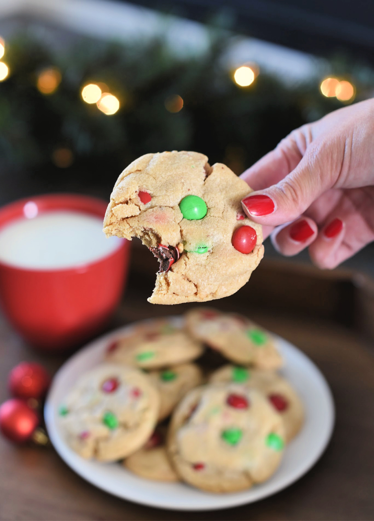 Christmas Peanut Butter Cookies with Holiday M&Ms