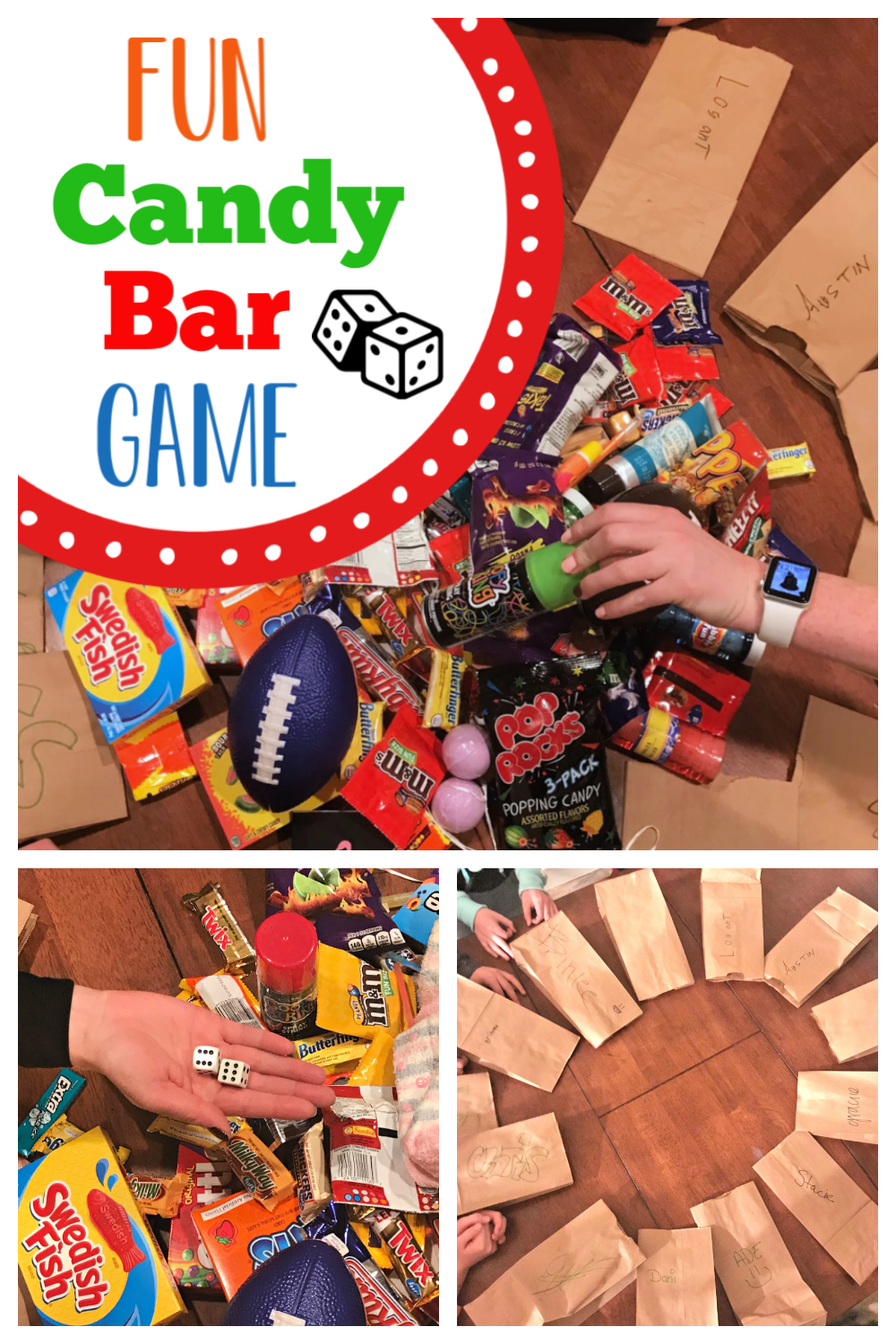 This fun and simple candy bar game is the perfect addition to any party. It's such a fun party game, you and your guests will love to play. #partygame #candybargame #funpartygame #simplepartyideas