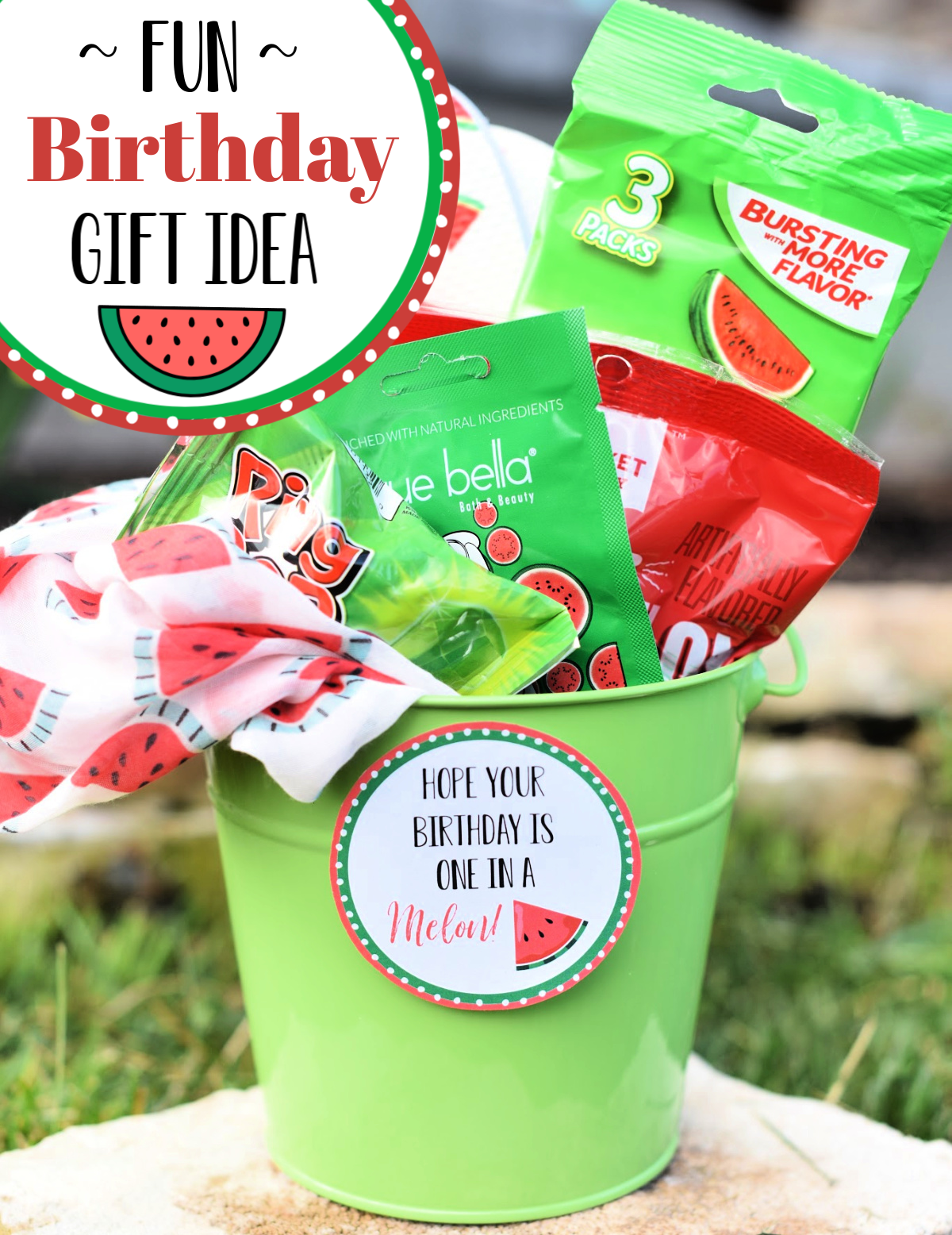 "Simple Birthday gift for her! This ""One in a Melon"" gift idea is the perfect way to wish her a happy birthday. Fun and simple birthday gift idea! #birthdaygift #fungiftidea #melongiftidea #birthday #funbirthdaygiftidea"