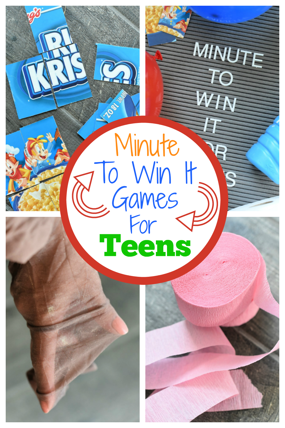 Minute to Win it Games for Teens. Fun party games for teens for your next party! #minutetowinit #teenparty #partygames #teenpartygames