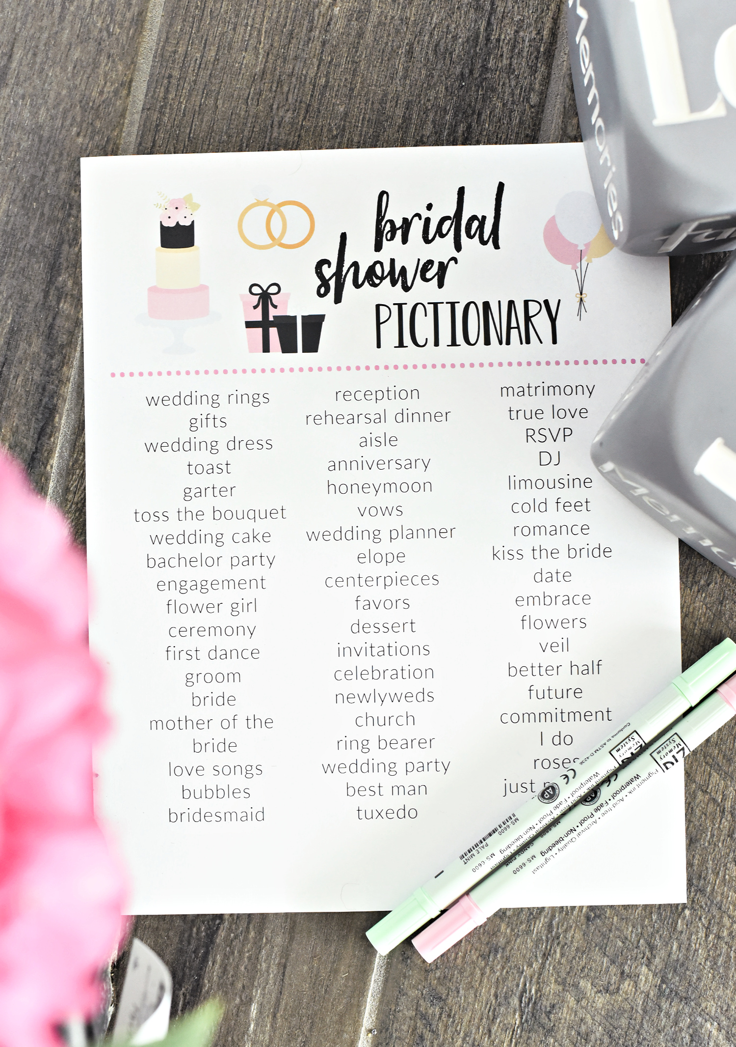 Bridal Shower Pictionary Game-all you need to do is print and play this fun bridal shower game. #bridalshower #games #bridalshowergames #bridalshowerideas