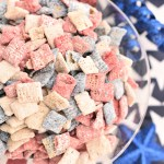 These red, white, and blue muddy buddies are the perfect dessert to serve for the 4th of July or any American holiday! They taste amazing and you're going to love them! #4thofJuly #4thofJulyfood #patrioticfood