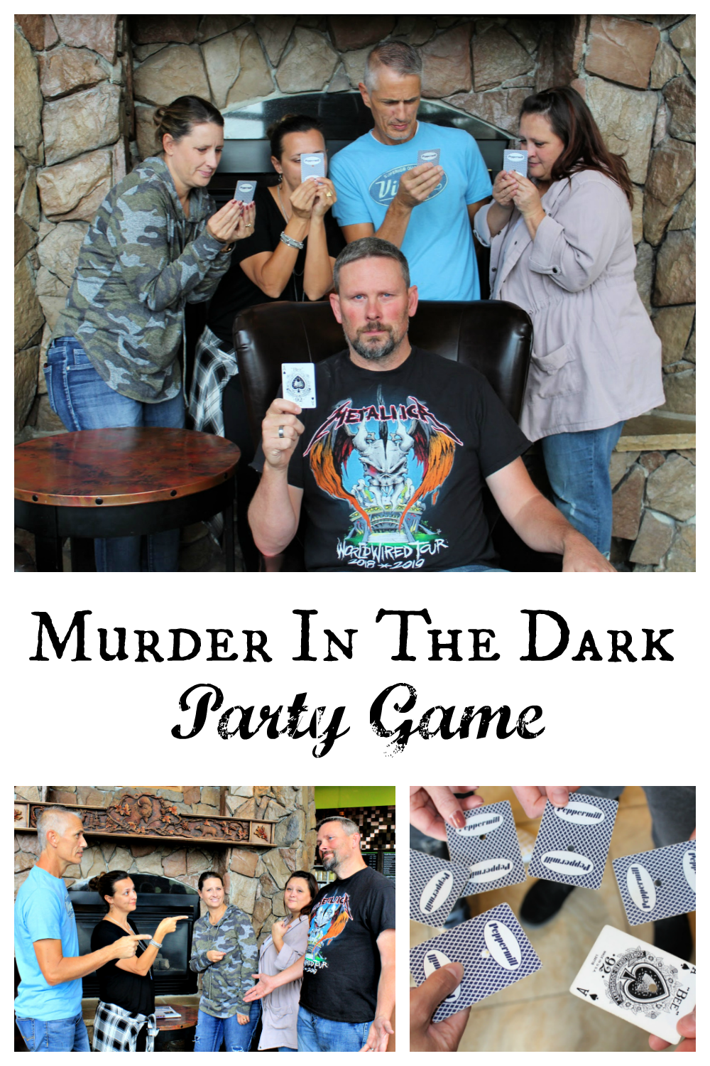 Murder in the Dark party game. This fun party game is perfect for groups. Have fun solving the mystery at your next party! #funpartygame #games #murderinthedarkgame