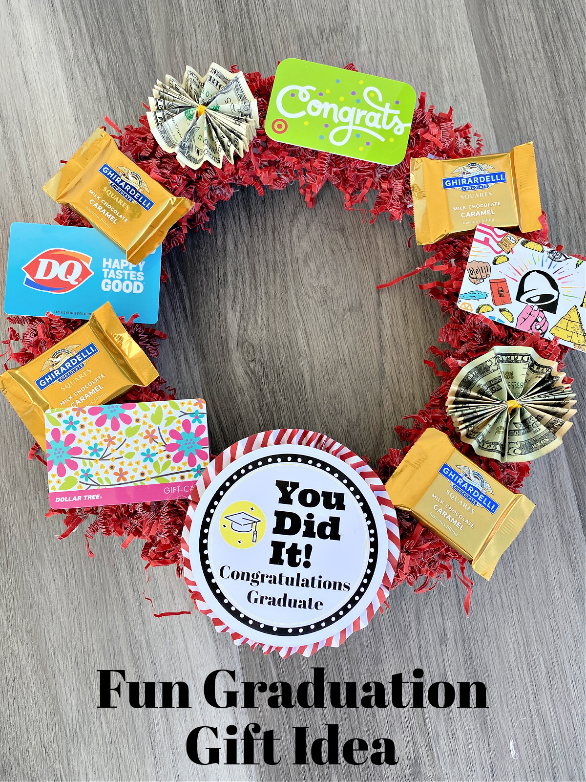 High School Graduation Gift Idea. A fun and simple way to give money and gift cards.