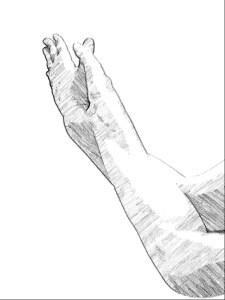 鷲のポーズの手 手の平合わせ