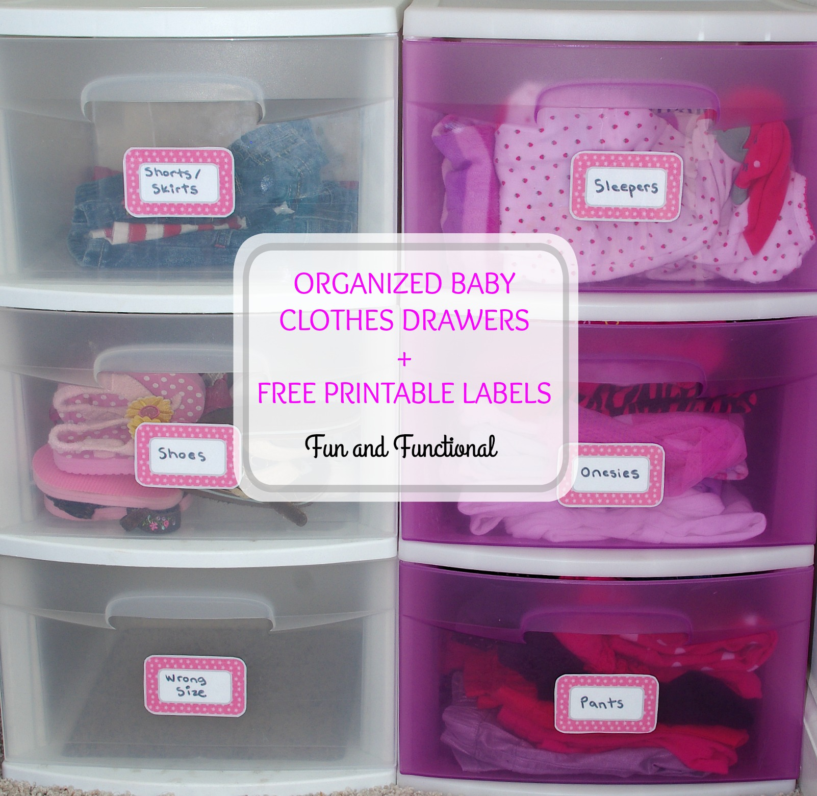 Organized Baby Clothes Drawers Free Printable Labels