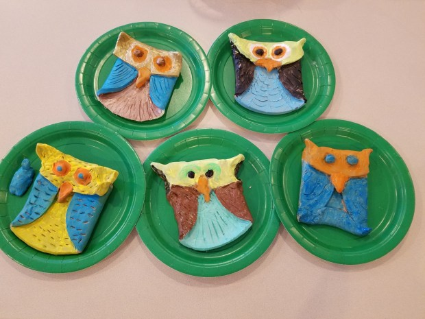 Hand made pottery clay slab owls
