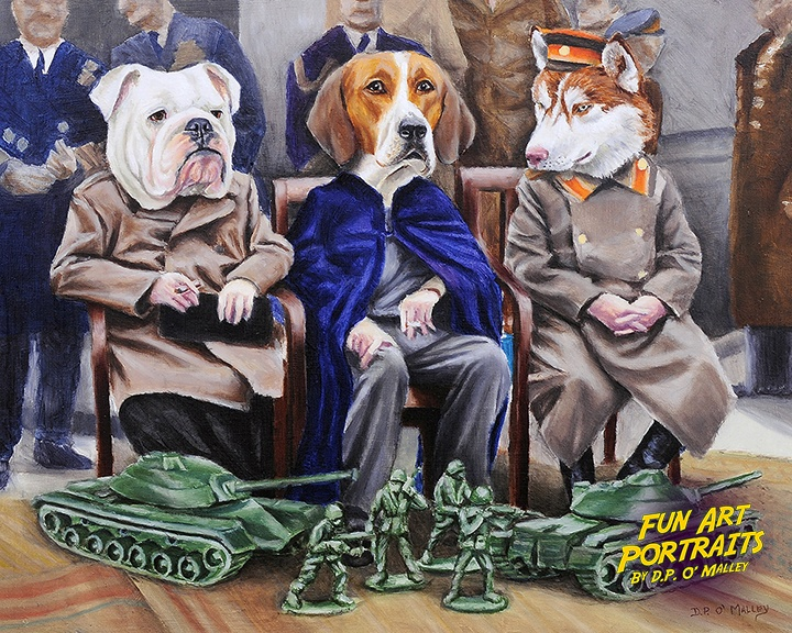 Three dog meet at yalta, russian, American and english to discuss war and peace