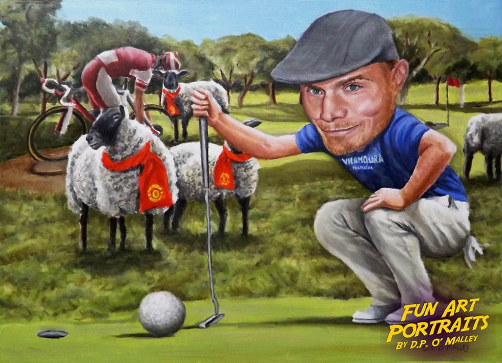 A Man plays golf with Man Utd Sheep and cyclist