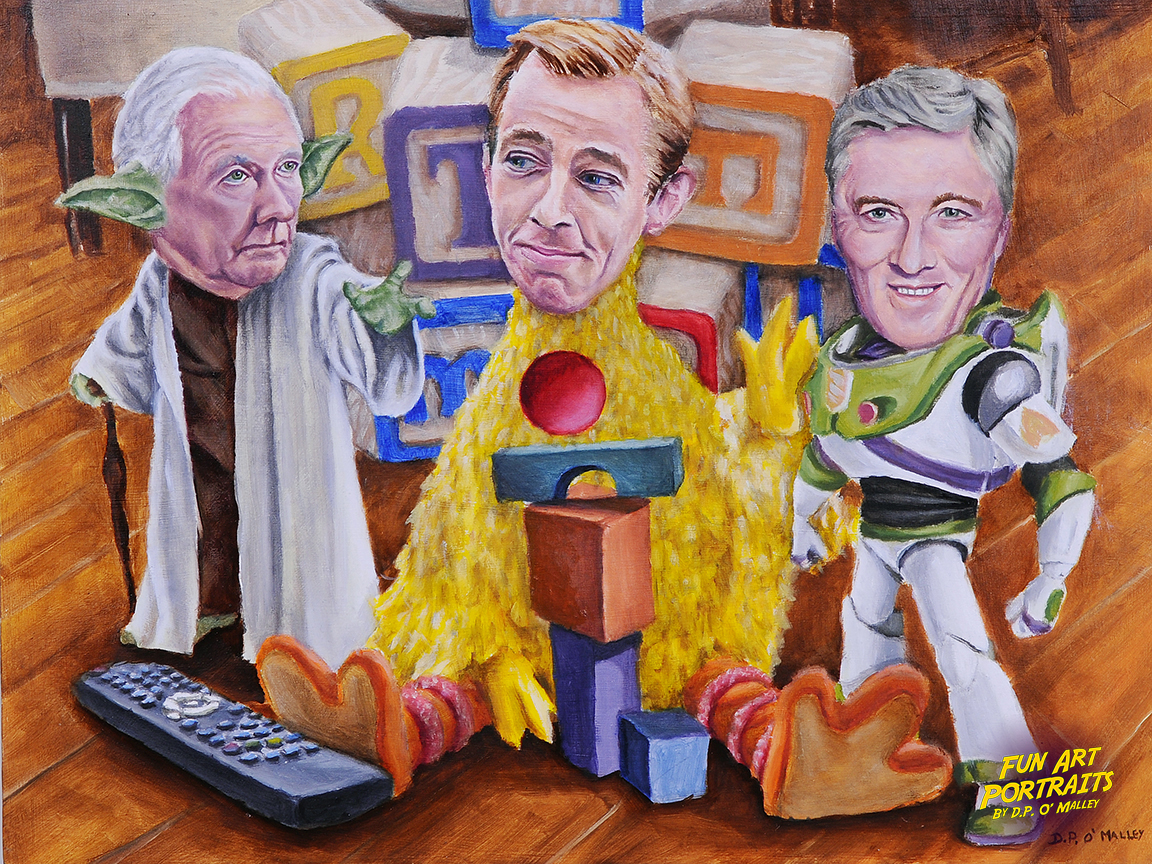 Gay Byrne Ryan tubbirdy and Pat kenny are dressed up a famous toy characters