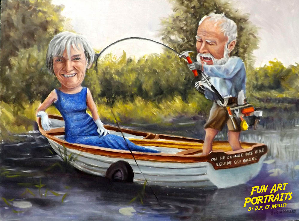 A man is fishing in a boat with his stylish wife watching on