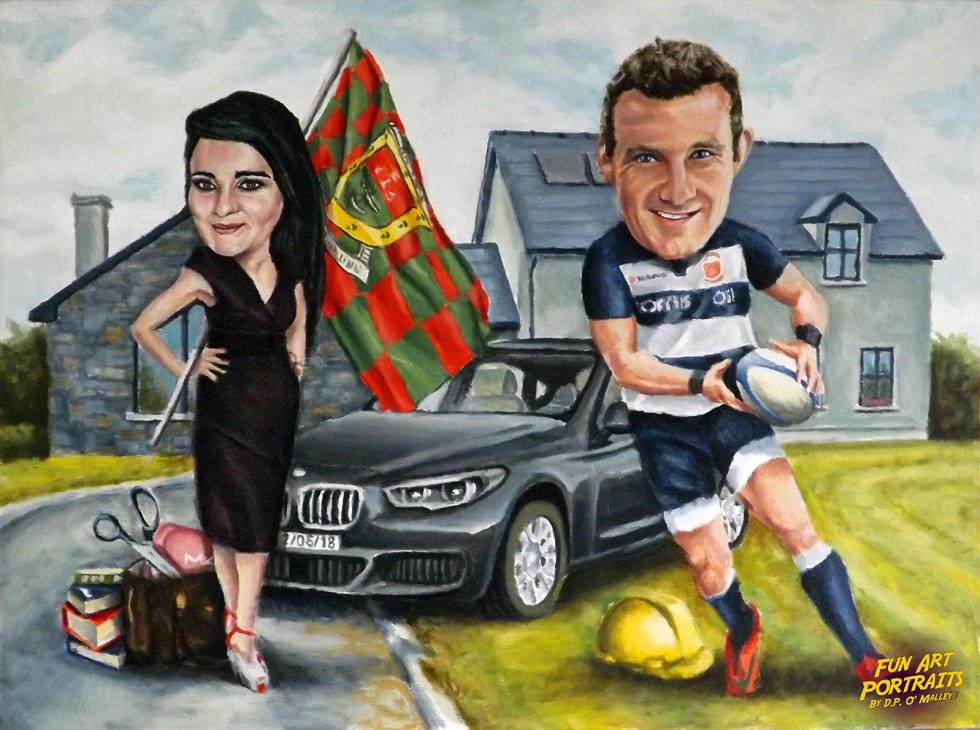A woman with a Mayo flag stand infront of her car as her man plays rugby