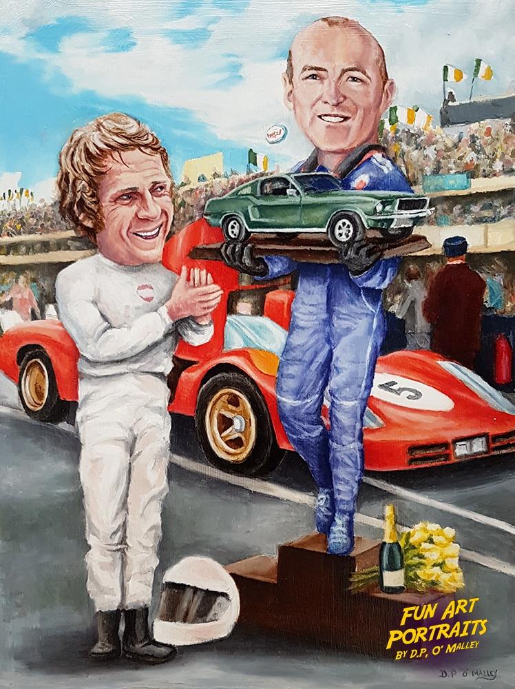 steve mcQueen presenting a car to the winner of a car race